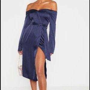 Pretty little thing navy satin Bardot dress PLT